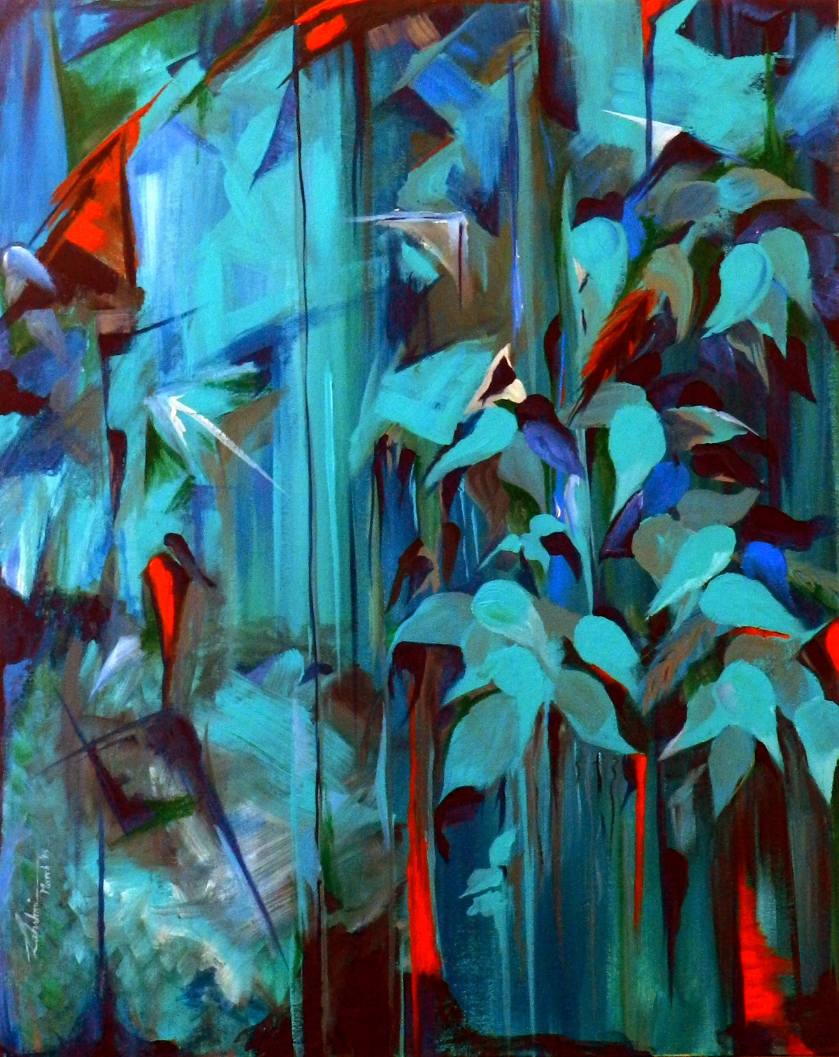 Enchanted Forest by Lakshmi Prakash, Impressionism Painting, Acrylic on Canvas, Green color