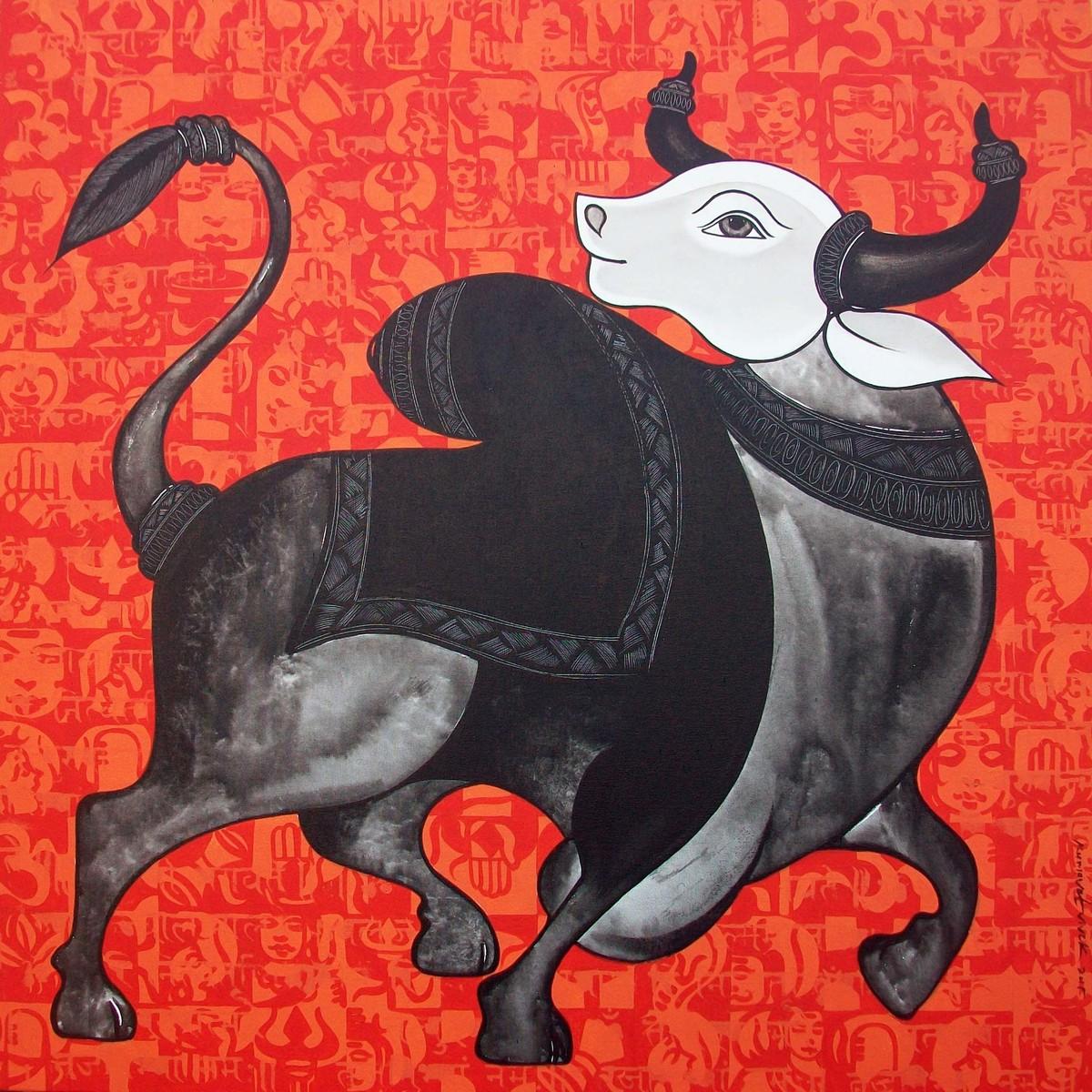 Nandi by Vivek Kumavat, Decorative Painting, Acrylic on Canvas, Red color