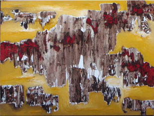 Our Life by Suuhas Zendey, Abstract Painting, Oil on Canvas, Brown color