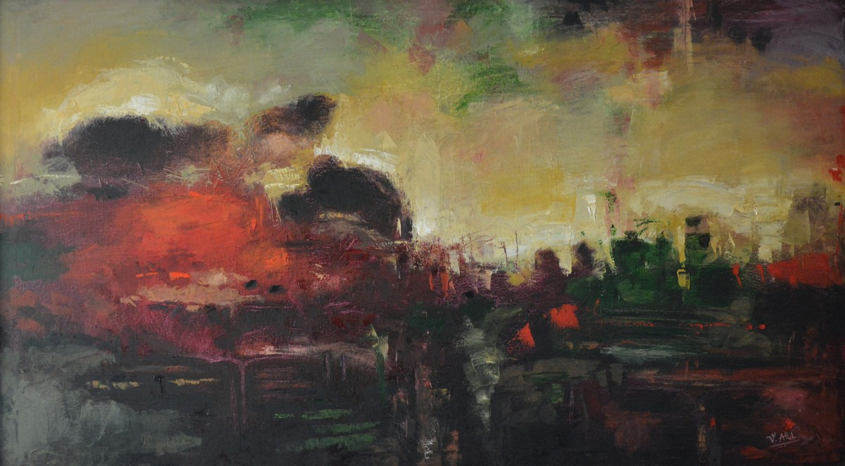 Abstract 3 by Atul Virkar, Abstract Painting, Oil on Canvas, Brown color