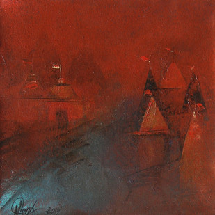Banaras Ghat by M Singh, Impressionism Painting, Acrylic on Canvas, Brown color