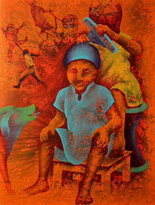 Athkheliya by Lakhan Singh Jat, Decorative, Impressionism Painting, Acrylic on Canvas, Brown color