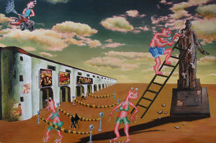 In the Land of De Chirico I by Arpan Ghosh, Surrealism Painting, Mixed Media on Paper, Brown color