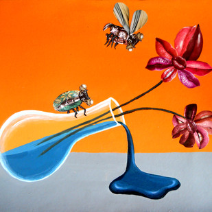 The Companian by Arpan Ghosh, Surrealism Painting, Mixed Media on Board, Orange color