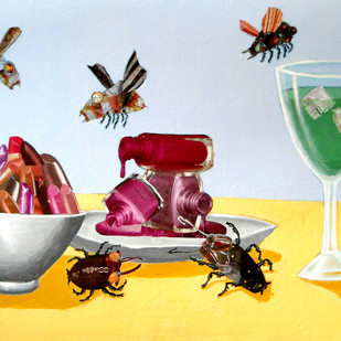 The Dining Table by Arpan Ghosh, Surrealism Painting, Mixed Media on Paper, Cyan color