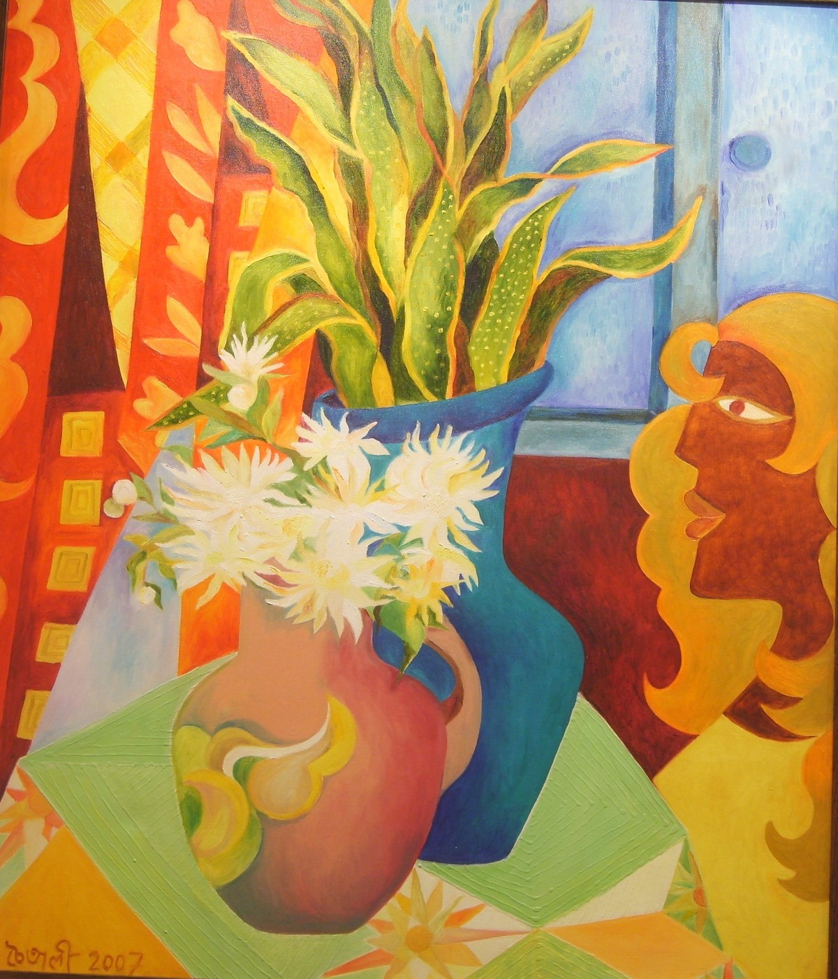 By the Window by Chaitali Chatterjee, Decorative Painting, Oil on Canvas, Brown color