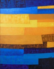 Escapes 1 by Gayatri Deshpande, Abstract Painting, Oil on Canvas, Blue color