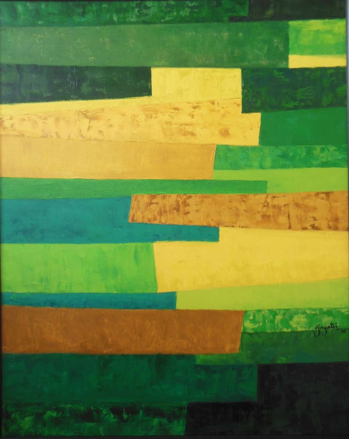 Escapes 2 by Gayatri Deshpande, Abstract Painting, Oil on Canvas, Green color
