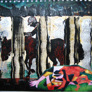 The Passing Horse by Mithun Dasgupta, Conceptual Painting, Mixed Media on Paper, Gray color