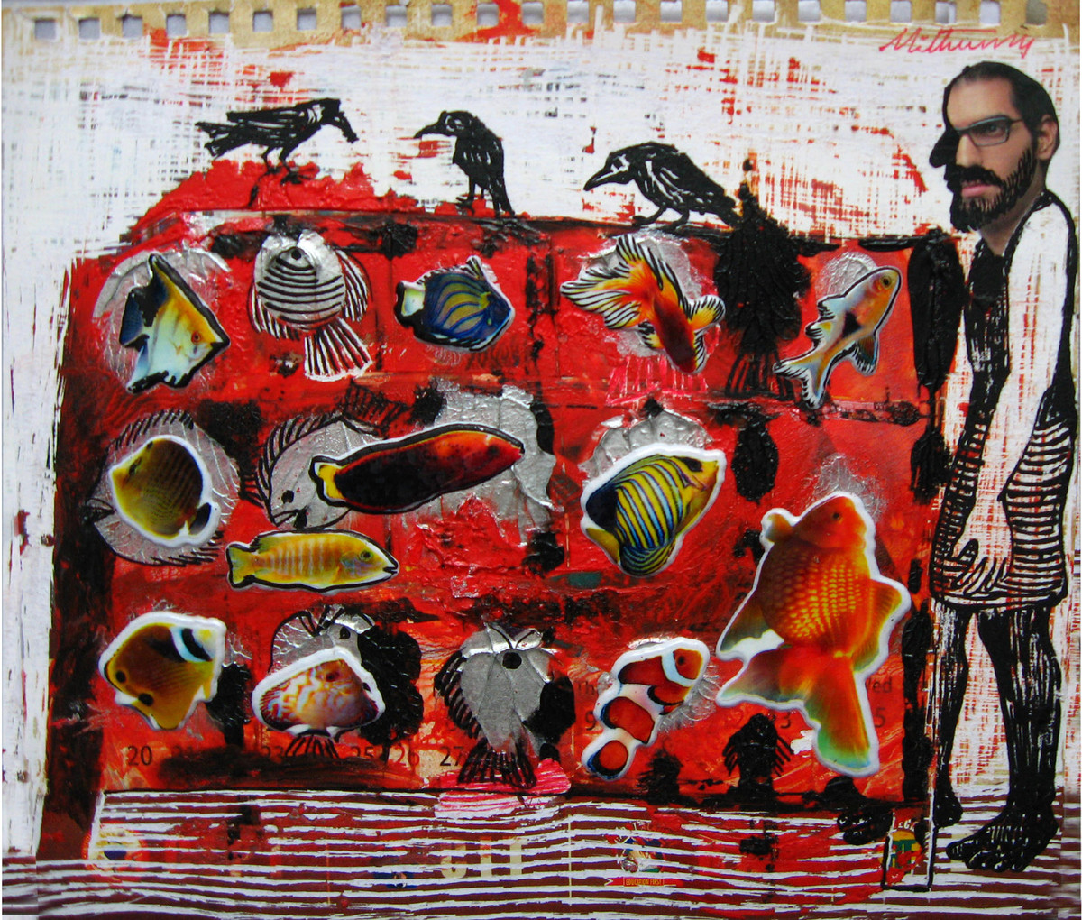 The Fish Seller by Mithun Dasgupta, Conceptual Painting, Mixed Media on Paper, Brown color
