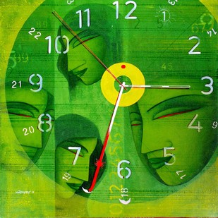 My 24 Hours by Samir Sarkar, Expressionism Painting, Acrylic on Canvas, Green color