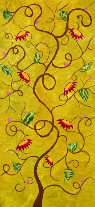 Gulpankh by Sumit Mehndiratta, Decorative Painting, Acrylic on Canvas, Green color