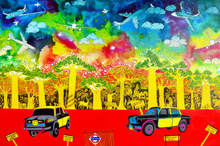 Lifecycles by Pragati Sharma Mohanty, Pop Art Painting, Acrylic on Canvas, Green color
