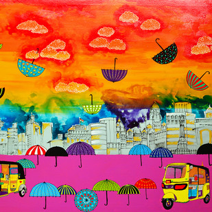 Lifelines by Pragati Sharma Mohanty, Pop Art Painting, Acrylic on Canvas, Orange color