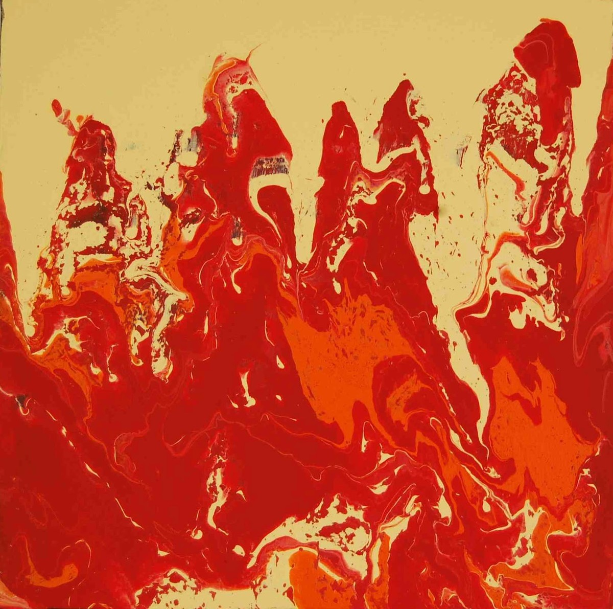 Rajasthani Grace by Aparna Ganesh, Abstract Painting, Acrylic on Canvas, Red color