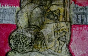 Head Series by Syed Rayees Ahmed, Naive Painting, Acrylic on Paper, Green color