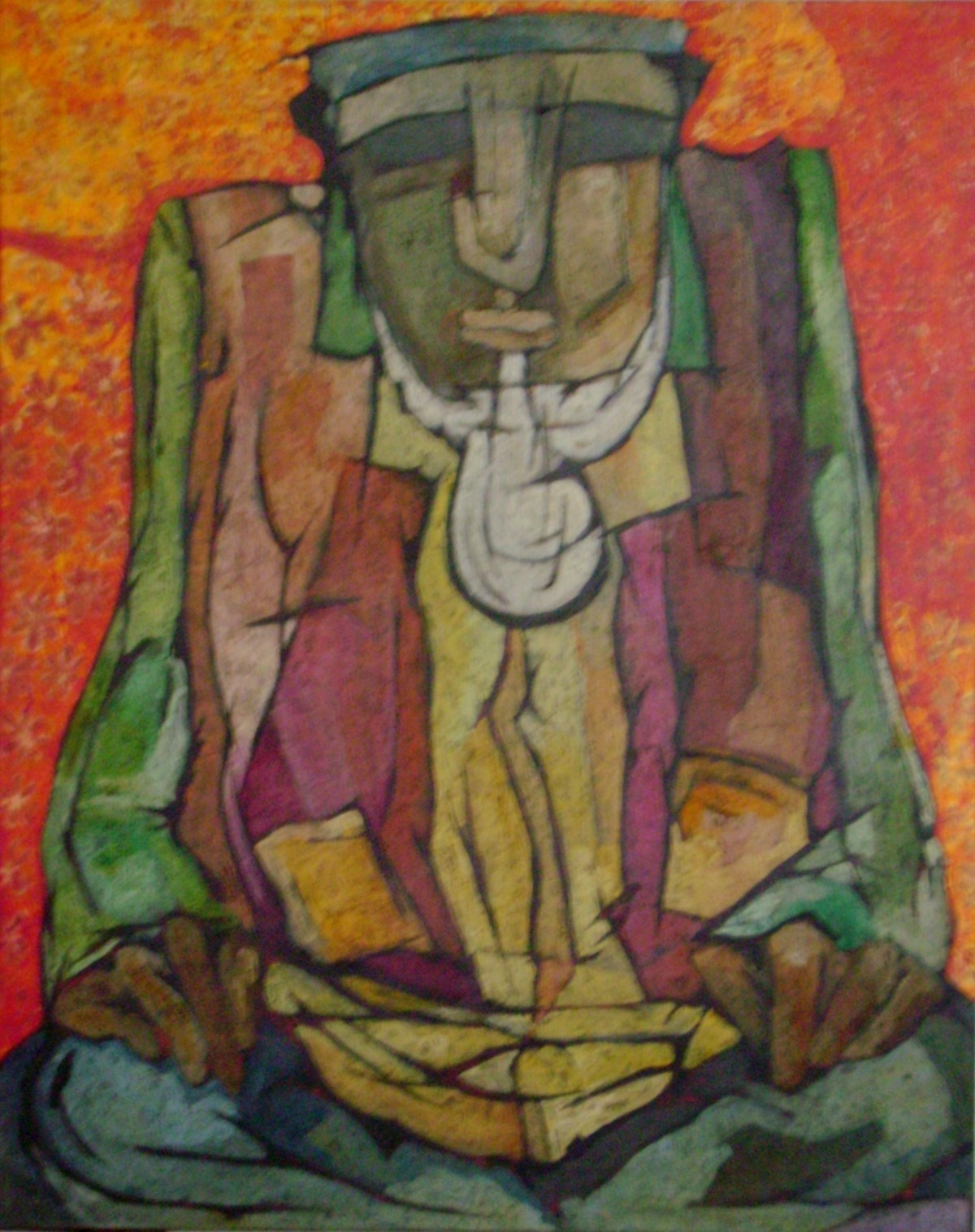 Hyderabadi Man by Syed Rayees Ahmed, Naive Painting, Oil on Canvas, Brown color