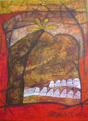Golkonda Series by Syed Rayees Ahmed, Naive Painting, Acrylic on Canvas, Brown color