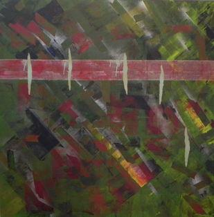Inattentive mind - IV by Srinivasan Natarajan, Abstract Painting, Acrylic on Canvas, Green color
