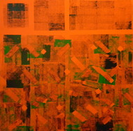 Inattentive Mind V by Srinivasan Natarajan, Abstract Painting, Acrylic on Canvas, Orange color