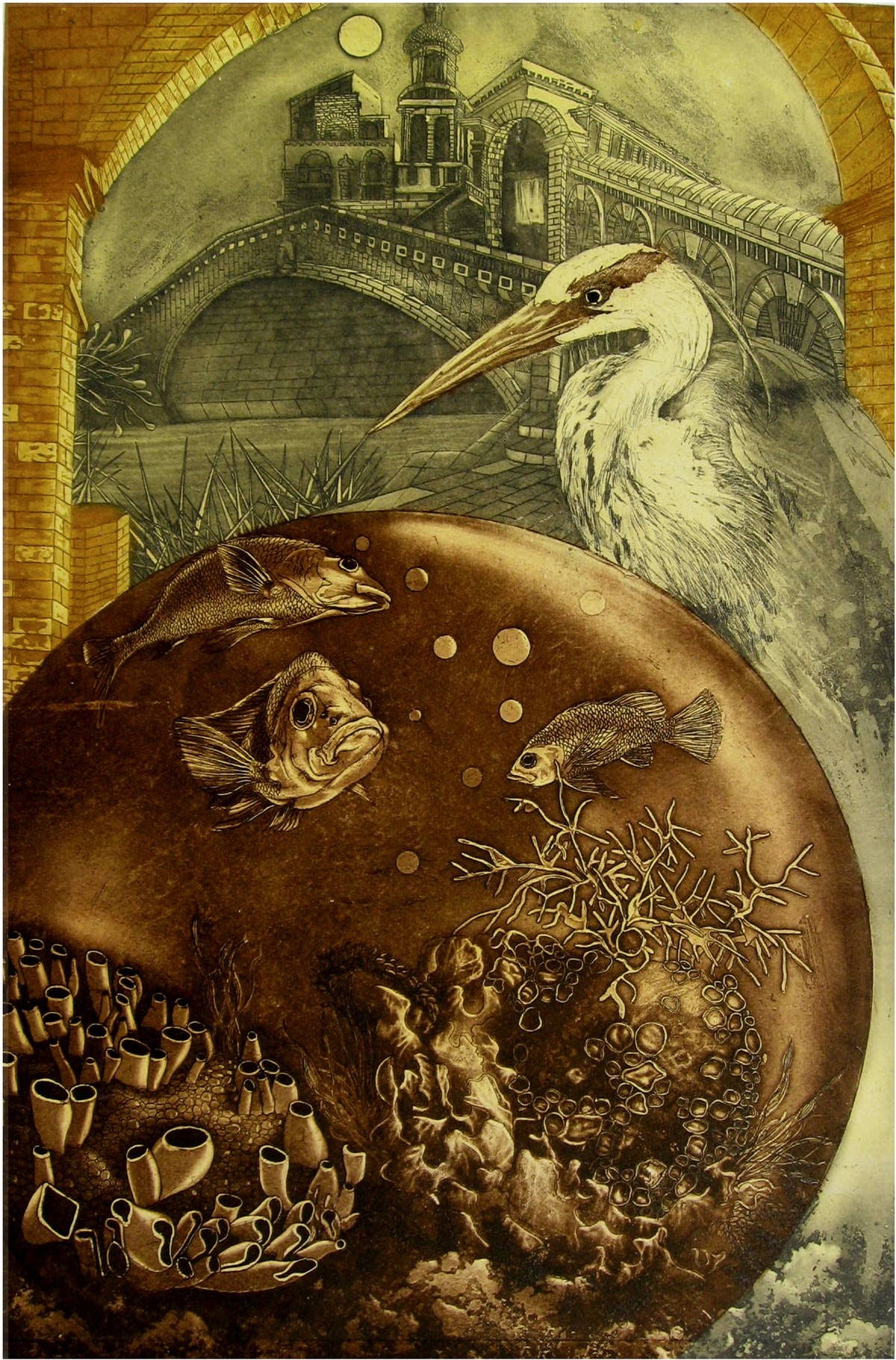 Awaiting by Jyotirmay Dalapati, Surrealism Printmaking, Etching on Paper, Brown color