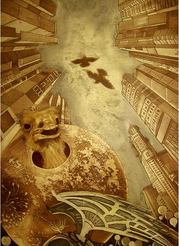3rd World by Jyotirmay Dalapati, Surrealism Printmaking, Etching on Paper, Brown color