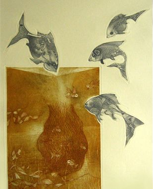 Aqua Life by Jyotirmay Dalapati, Surrealism Printmaking, Etching on Paper, Beige color
