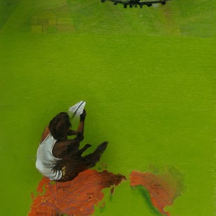 Wish by Isha Bawiskar, Expressionism Painting, Acrylic on Wood, Green color