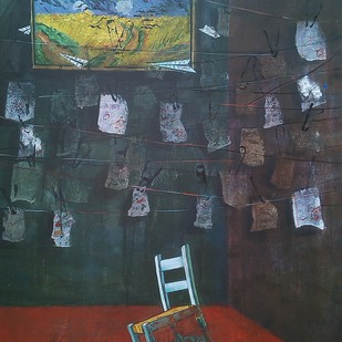Thinking by Isha Bawiskar, Conceptual Painting, Acrylic on Canvas, Green color