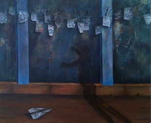 Shadow by Isha Bawiskar, Conceptual Painting, Acrylic on Canvas, Blue color