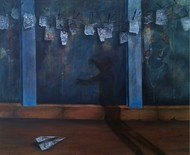 Shadow by Isha Bawiskar, Conceptual Painting, Acrylic on Canvas, Blue color
