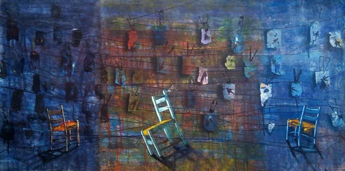 Live Present by Isha Bawiskar, Conceptual Painting, Acrylic on Canvas, Blue color