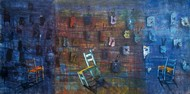 Live Present by Isha Bawiskar, Conceptual Painting, Acrylic on Canvas, Blue color