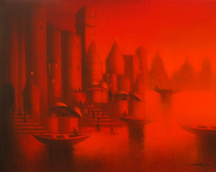 Banaras by Somnath Bothe, , , Red color