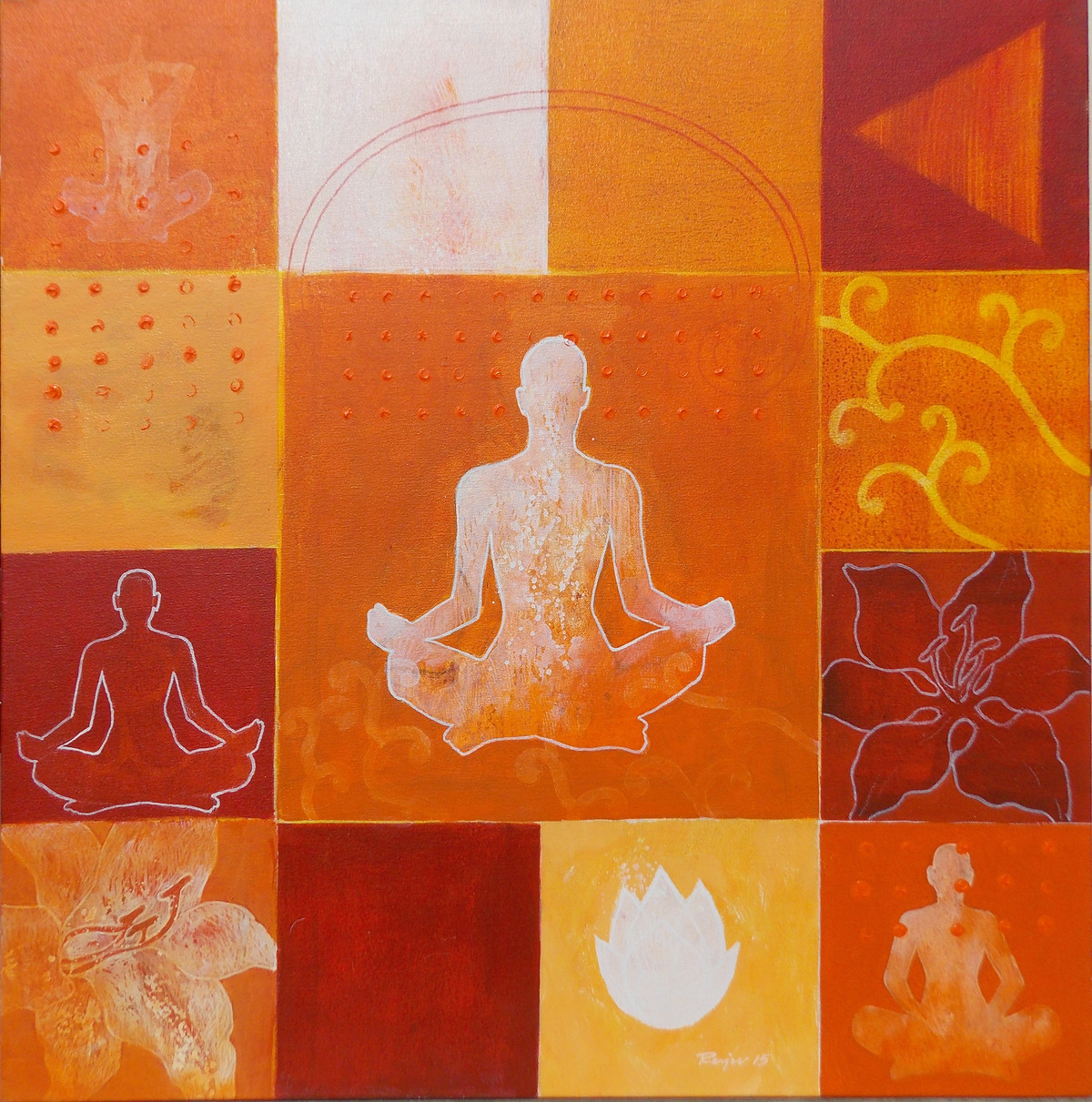 Meditation 33 by Raju Sarkar, Conceptual Painting, Acrylic on Canvas, Orange color