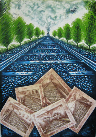Leading Paths by Rahul Dhiman, Conceptual Printmaking, Etching on Paper, Green color