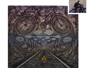 Ride on a Struggling Track by Rahul Dhiman, Conceptual Printmaking, Etching on Paper, Gray color