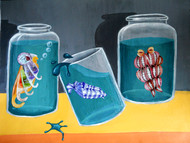 Aquariums by Arpan Ghosh, Surrealism Painting, Mixed Media on Board, Green color