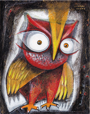 Owl XVI by Ratna Bose, Decorative Painting, Acrylic on Board, Brown color