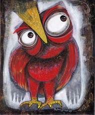 Owl XVII by Ratna Bose, Decorative Painting, Acrylic on Board, Brown color