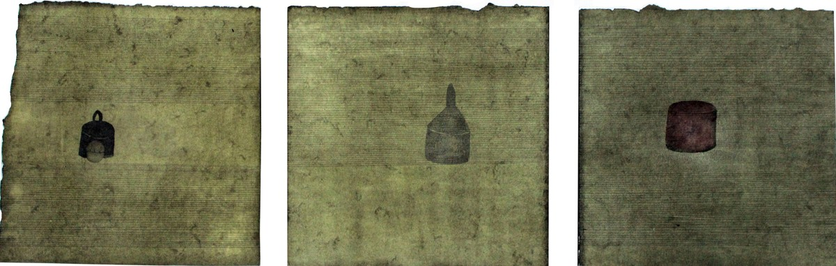 Separated by Prasanta Ghosh, Conceptual Painting, Mixed Media on Paper, Green color