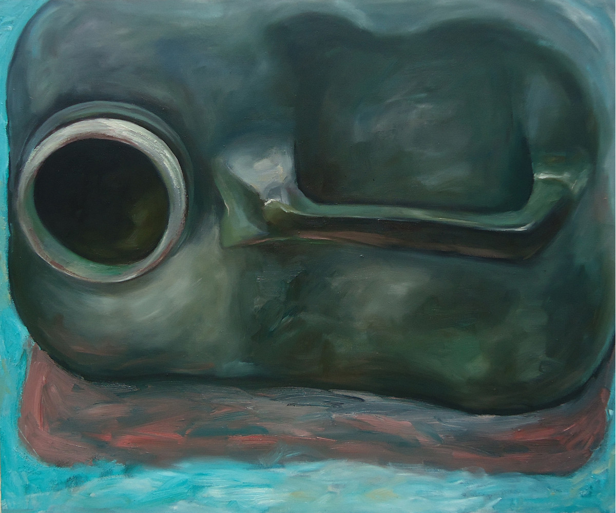 Hunger by Prasenjit Chandra, Conceptual Painting, Oil on Canvas, Green color