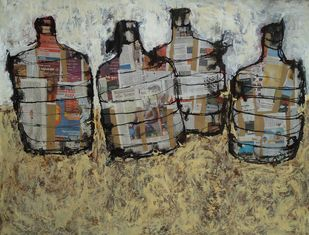 Untitled-1 by Subhamay Dutta, Painting, Mixed Media on Paper, Brown color