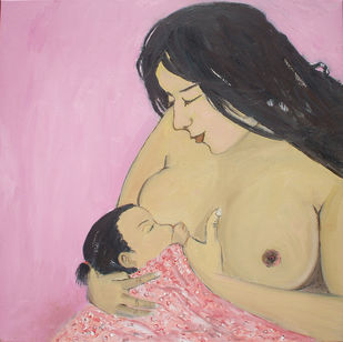 Ma & Child by Animesh Roy, Impressionism Painting, Oil on Linen, Pink color