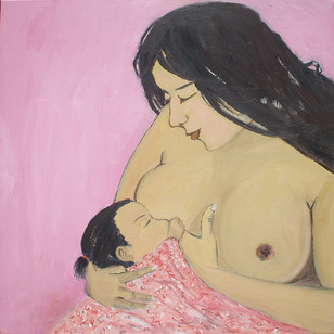 Ma & Child Digital Print by Animesh Roy,Impressionism