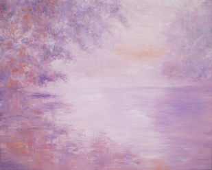Early Morning Mist Over the Lake by Animesh Roy, Impressionism , Oil on Linen, Pink color