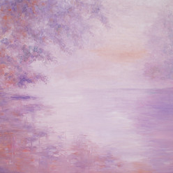 Early Morning Mist Over the Lake by Animesh Roy, Impressionism Painting, Oil on Linen, Pink color