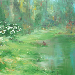 Water and Land II by Animesh Roy, Impressionism , Oil on Linen, Green color