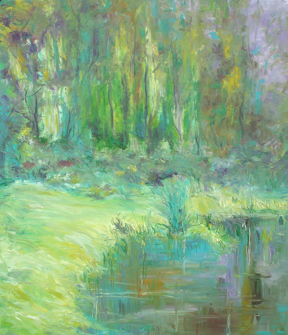 Water and Land by Animesh Roy, Impressionism Painting, Oil on Linen, Green color