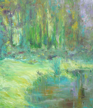 Water and Land by Animesh Roy, Impressionism , Oil on Linen, Green color
